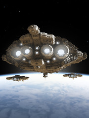 Science fiction illustration of a group of battle cruiser spaceships above a blue planet, 3d digitally rendered illustration
