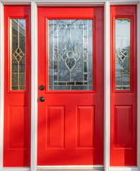 Close Up of a Red Door or Entrance to a House