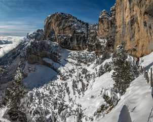 Cirque de l' Aulp du Seuil en Chartreuse en hiver dans les Alpes