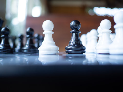 Chess game to demonstrate the business strategy. The competition in the world market. To find out the best solution to get to the needs of market