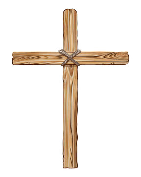 Wooden cross for the crucifixion. Hand-drawn, artistic image of a wooden cross on a white background.