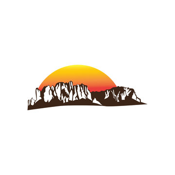 Superstition Mountains arizona logo illustration