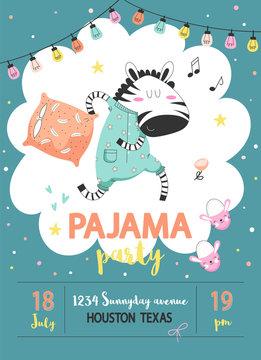 Pajama party poster with zebra