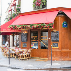 Paris, France, December 10th, 2019, typical restaurant and coffee in the Marais