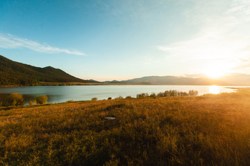 Scenic view of lake during sunset, Siberia, Russia