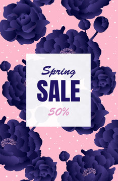 Spring sale banner. Up to 50%