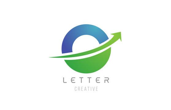 green blue swoosh arrow letter alphabet O for company logo icon design