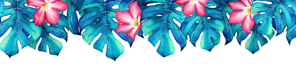 Seamless pattern with watercolor blue monstera leaves and pink flowers