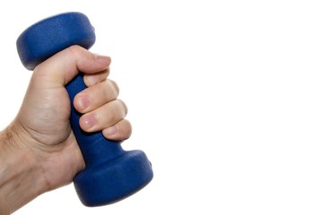 Isolated picture of a person holding a blue dumbbell