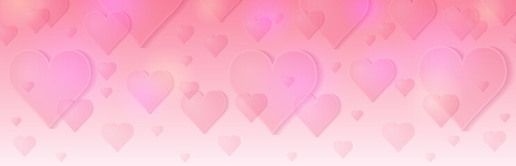 Wall Mural - Pink banner with valentines hearts. Valentines greeting banner. Horizontal holiday background, headers, posters, cards, website. Vector illustration