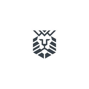 illustration graphic of lion king line art icon for website symbol logo design
