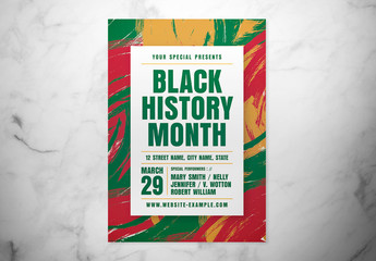 Black History Month Event Flyer Layout with Abstract Background