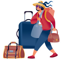a woman in a hat and loaded with bags walks and next to her stands a suitcase and a large bag, hand luggage, isolated object on a white background,