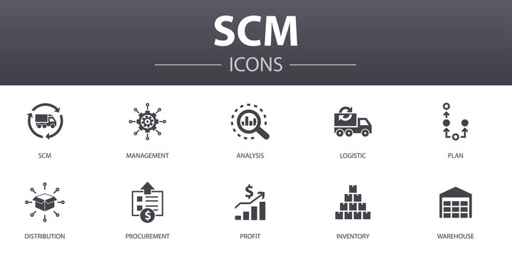 SCM simple concept icons set. Contains such icons as management, analysis, distribution, procurement and more, can be used for web, logo, UI/UX