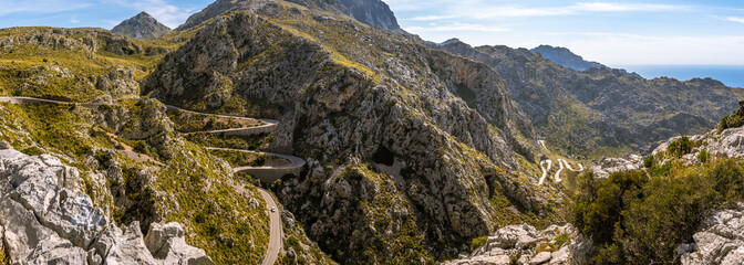 Mirador Coll dels Reis - mountain pass located on the northwest coast of the Spanish Balearic island of Majorca. Spain