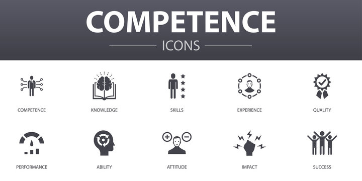 competence simple concept icons set. Contains such icons as knowledge, skills, performance, ability and more, can be used for web, logo, UI/UX