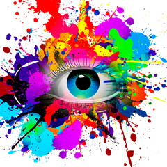 abstract illustration with colorful paint splashes with eye