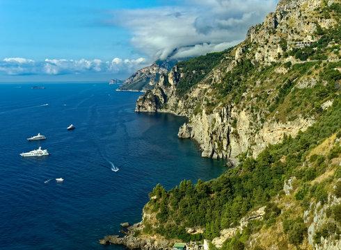Overlook of the beautiful Amalfi Coast near Positano, Italy