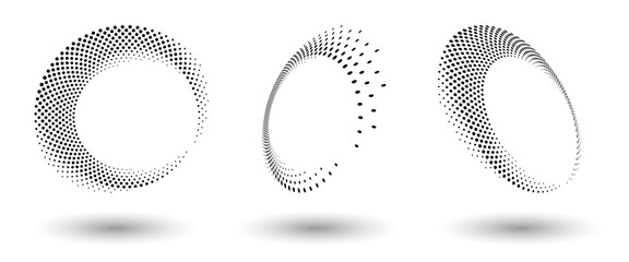 Halftone circle frame, abstract dots logo emblem design element for any project. Round border icon or backgroud. Abstract dotted halftone vector with differents perspective
