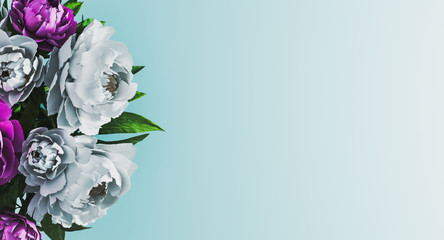 Wall Murals Floral Pastel blue floral background with white and purple peonies on side. Floral background concept. Spring time concept. Invitation, greeting card. Mockup. 3d rendering