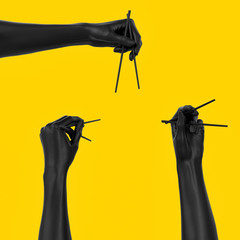 Set of Black hand using chopsticks isolated on yellow, sushi food at Japanese restaurant menu concept 3d illustration.