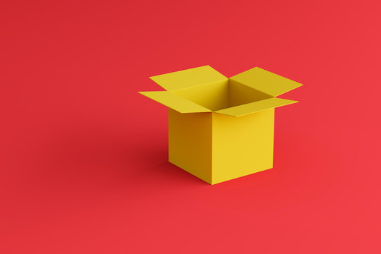 open yellow box on a red background, place for text, place for logo, wallpaper