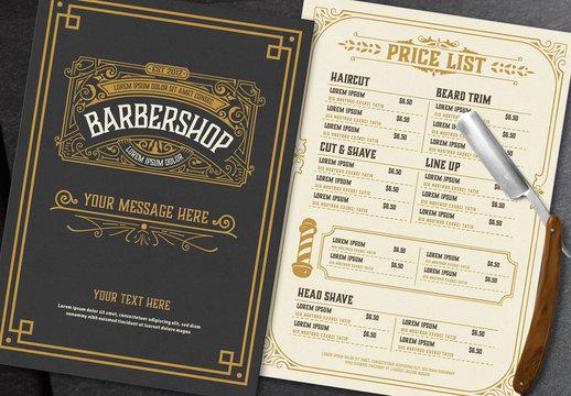 Vintage Barber Shop Price List Layout