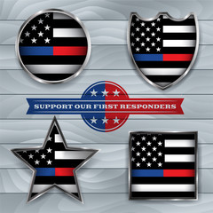 Police and Firefighter American Flags Emblem Illustration