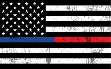 Police and Firefighter American Flag Background Illustration