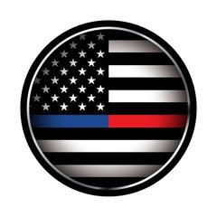 Police and Firefighter American Flag Emblem Illustration