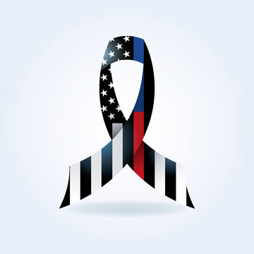 Police and Firefighter Support Ribbon Illustration