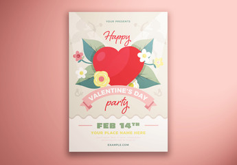 Valentine'S Day Party Flyer Layout with Heart and Flower Illustrations