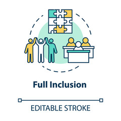 Full inclusion concept icon. Student group dynamics. Diverse community. Positive support. Inclusive education idea thin line illustration. Vector isolated outline RGB color drawing. Editable stroke