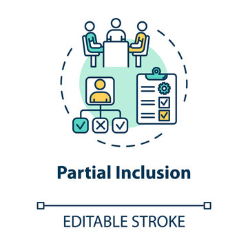 Partial inclusion concept icon. Mainstreaming teaching. Special studying program. Inclusive education idea thin line illustration. Vector isolated outline RGB color drawing. Editable stroke
