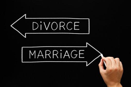 Marriage or Divorce Arrows Concept