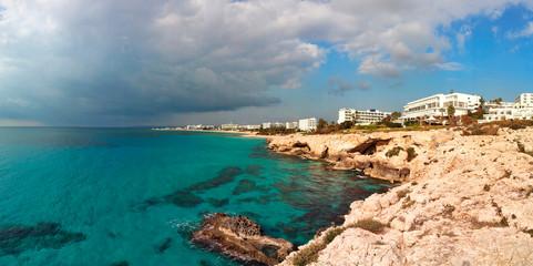 Photo sur Aluminium Chypre panorama with mountains on the seashore at cape cavo greco on Ayia Napa island cyprus
