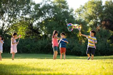Happy children blowing bubbles on meadow