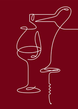 Single outline drawing with a bottle, wine glass, and a corkscrew. Continuous line on a dark background. Modern design element for wine tasting, menu, wine list, .restaurant, winery, shop.