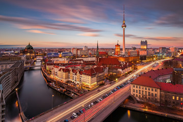 Printed roller blinds Berlin Aerial view of Berlin Alexanderplatz with the TV Tower at sunset