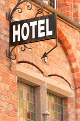 Self adhesive Wall Murals Bridges Hotel sign at the entrance of cozy accommodation in European city