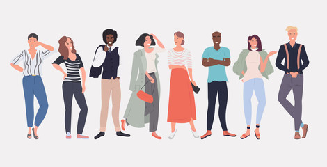 Wall Mural - people fashion bloggers standing together smiling mix race men women posing female male cartoon characters full length horizontal vector illustration