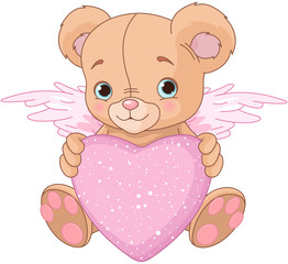 Fotorolgordijn Sprookjeswereld Teddy Bear with Heart