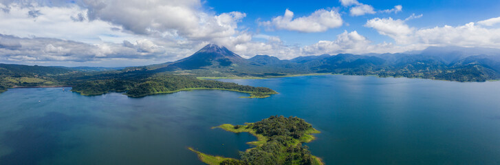 Panoramic view of beautiful Lake Arenal, Costa Rica.