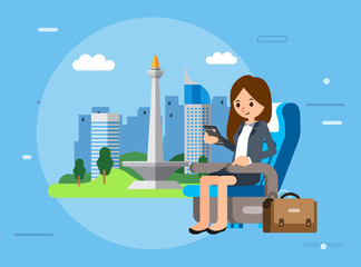 businesswomen character sit on airplane seat and checking smartphone, briefcase beside her and jakarta city as background vector illustration Papier Peint