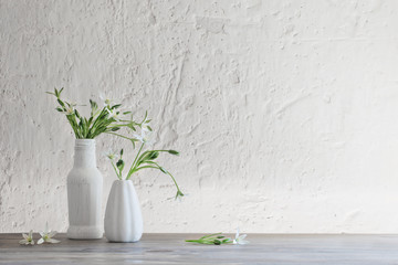 white flowers in vase on background old white wall