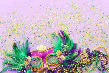 Holidays image of mardi gras masquarade venetian mask over purple background. view from above Wall mural