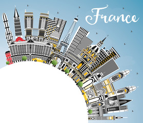 Welcome to France Skyline with Gray Buildings, Blue Sky and Copy Space.