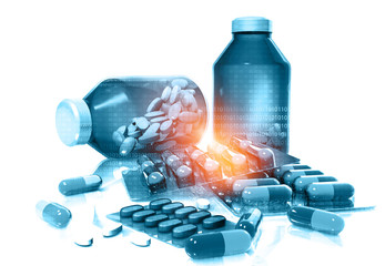 Bottle of medicine with capsule packs. pharmaceuticals antibiotics pills. 3d illustration.