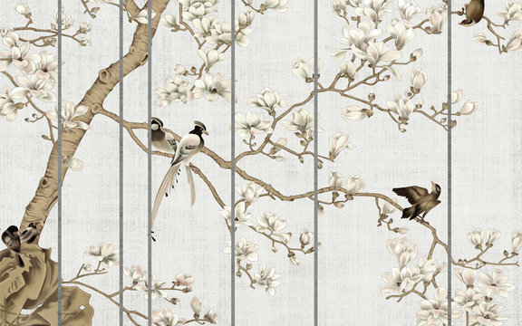 Light textured background, white magnolia flowers on a tree and birds