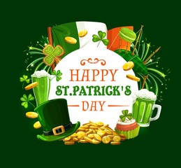 Patricks day round frame with Irish holiday symbols. Vector Ireland flag, gold coins, green fireworks and shamrock clover, bagpipe and macaroons, cupcake and ale beer, leprechauns hat and cookies